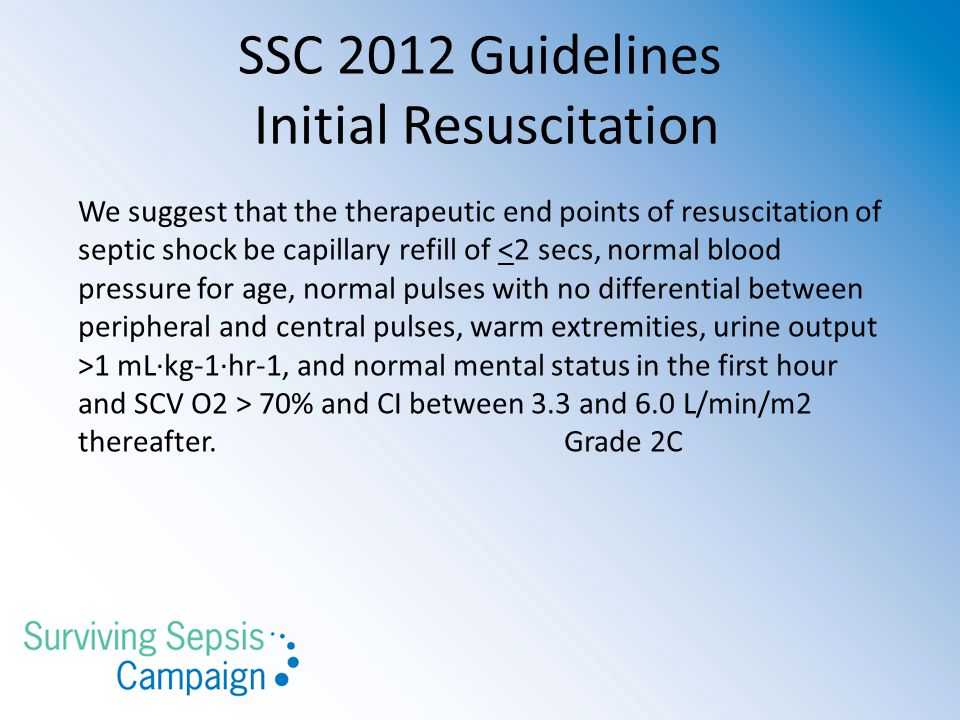 SSC 2012 Guidelines Initial Resuscitation We suggest that the therapeutic end points of resuscitation of septic shock be capillary refill of 1 mL·kg-1