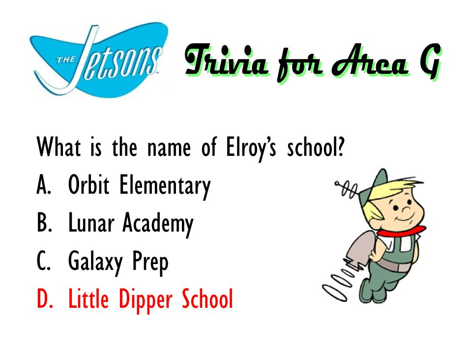 What is the name of Elroy's school? A.Orbit Elementary B.Lunar Academy C.Galaxy Prep D.Little Dipper School