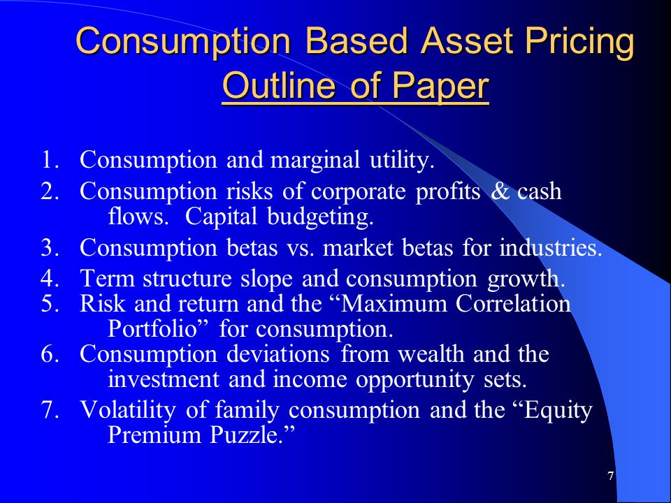 58 Equity Premium Puzzle and Consumption Volatility Individual consumption volatility is 5-10 times larger than measured volatility of NIPA aggregate consumption.