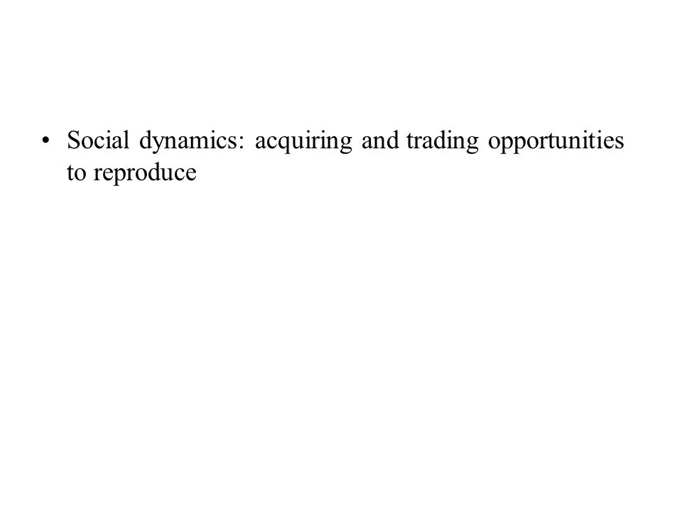Social dynamics: acquiring and trading opportunities to reproduce