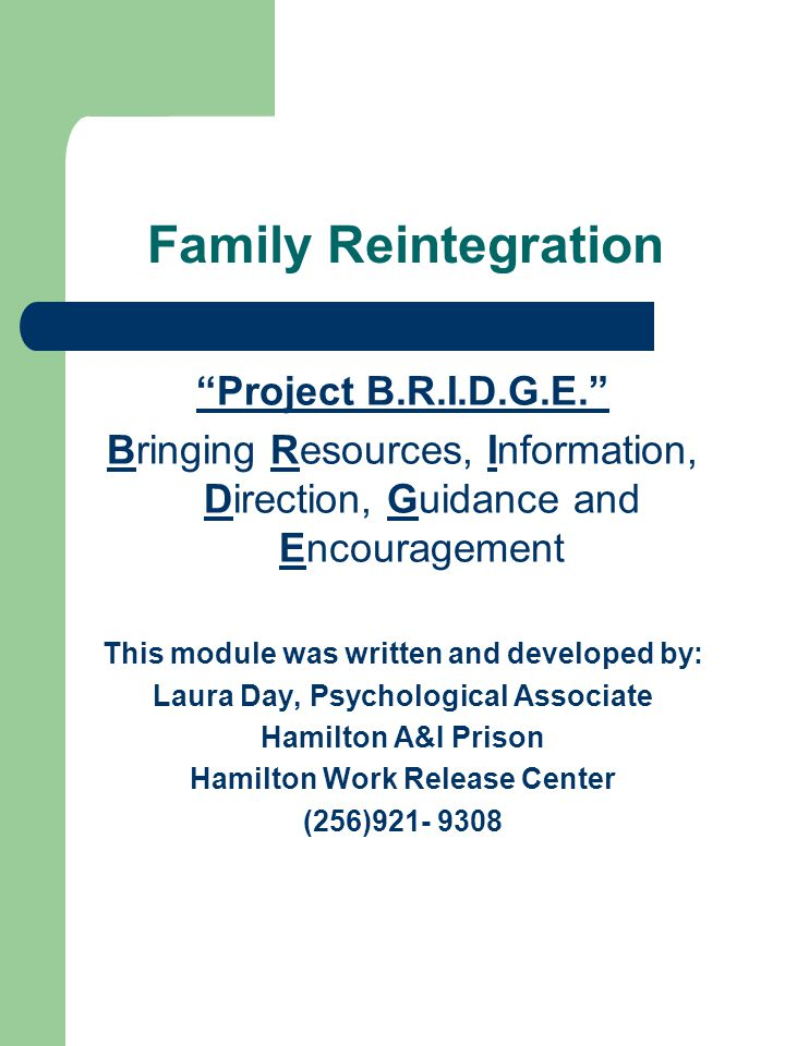 Family Reintegration Project B.R.I.D.G.E. Bringing Resources, Information, Direction, Guidance and Encouragement This module was written and developed by: Laura Day, Psychological Associate Hamilton A&I Prison Hamilton Work Release Center (256)921- 9308