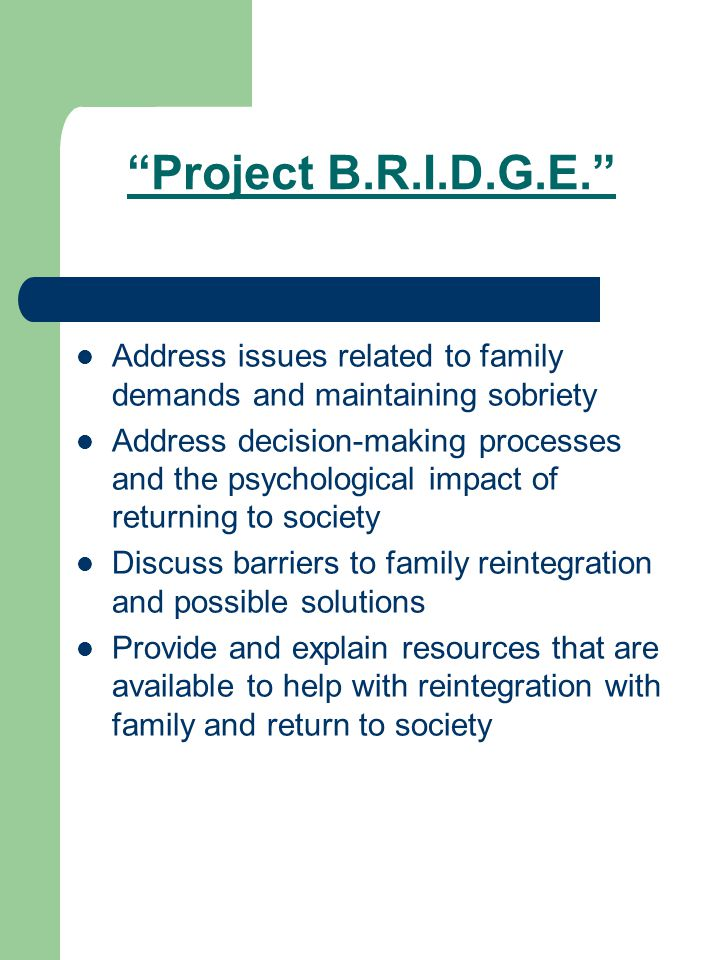 Project B.R.I.D.G.E. Address issues related to family demands and maintaining sobriety Address decision-making processes and the psychological impact of returning to society Discuss barriers to family reintegration and possible solutions Provide and explain resources that are available to help with reintegration with family and return to society