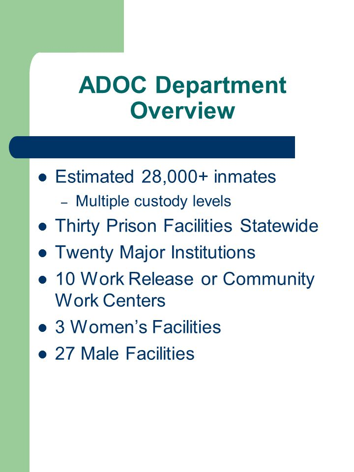 ADOC Department Overview Estimated 28,000+ inmates – Multiple custody levels Thirty Prison Facilities Statewide Twenty Major Institutions 10 Work Release or Community Work Centers 3 Women's Facilities 27 Male Facilities