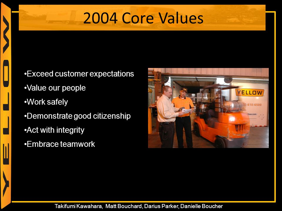 15 Takifumi Kawahara, Matt Bouchard, Darius Parker, Danielle Boucher 2004 Core Values Exceed customer expectations Value our people Work safely Demons