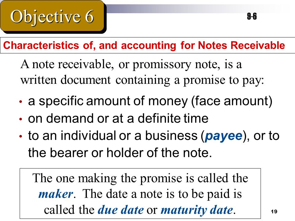 19 a specific amount of money (face amount) on demand or at a definite time to an individual or a business (payee), or to the bearer or holder of the