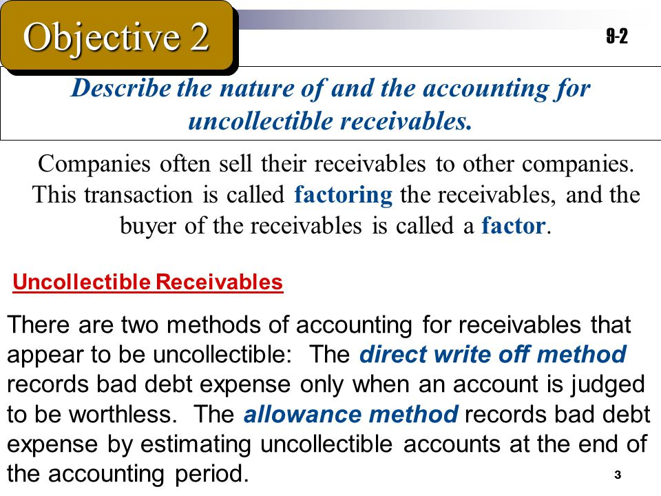 3 Describe the nature of and the accounting for uncollectible receivables. Objective 2 9-2 Companies often sell their receivables to other companies.