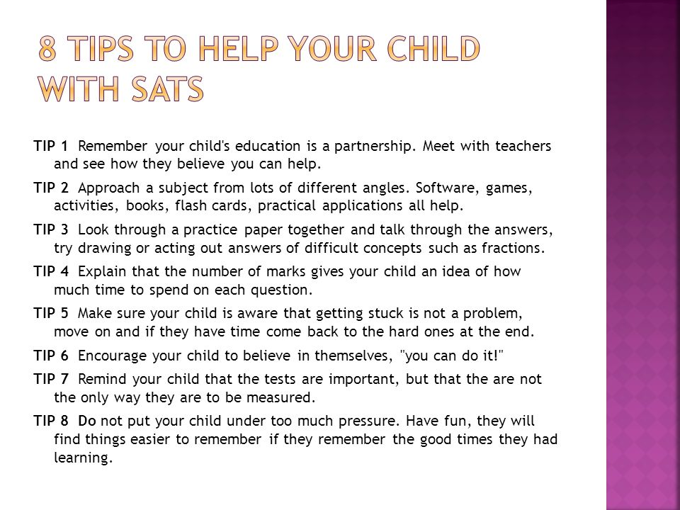 TIP 1 Remember your child s education is a partnership.