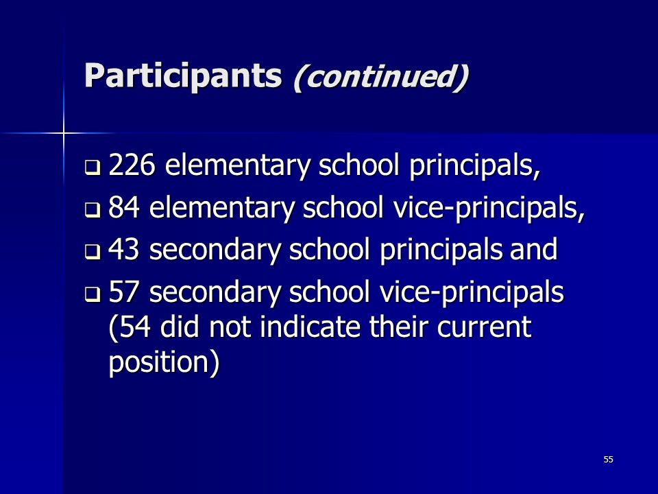 55 Participants (continued)  226 elementary school principals,  84 elementary school vice-principals,  43 secondary school principals and  57 secondary school vice-principals (54 did not indicate their current position)