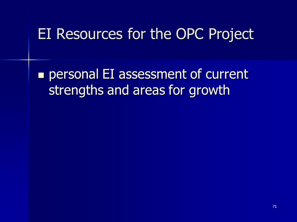 71 EI Resources for the OPC Project personal EI assessment of current strengths and areas for growth personal EI assessment of current strengths and areas for growth