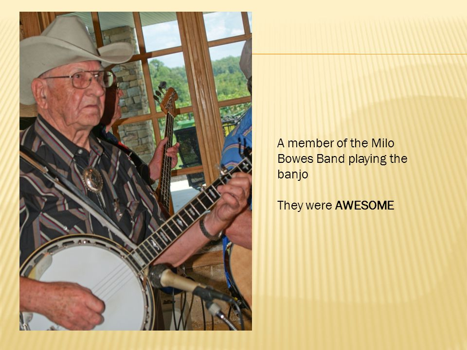A member of the Milo Bowes Band playing the banjo They were AWESOME