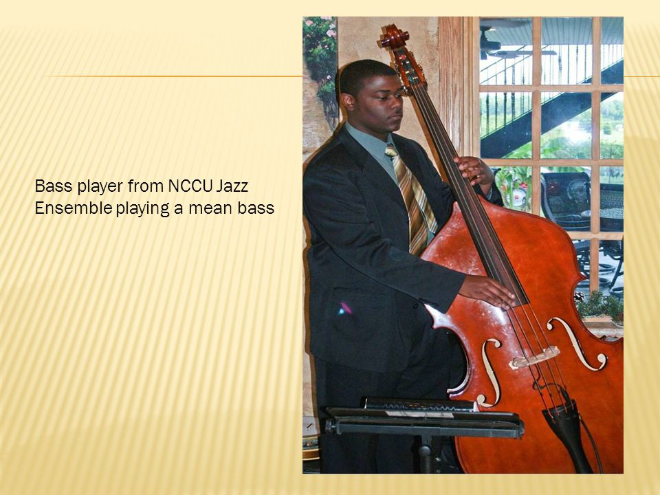 Bass player from NCCU Jazz Ensemble playing a mean bass