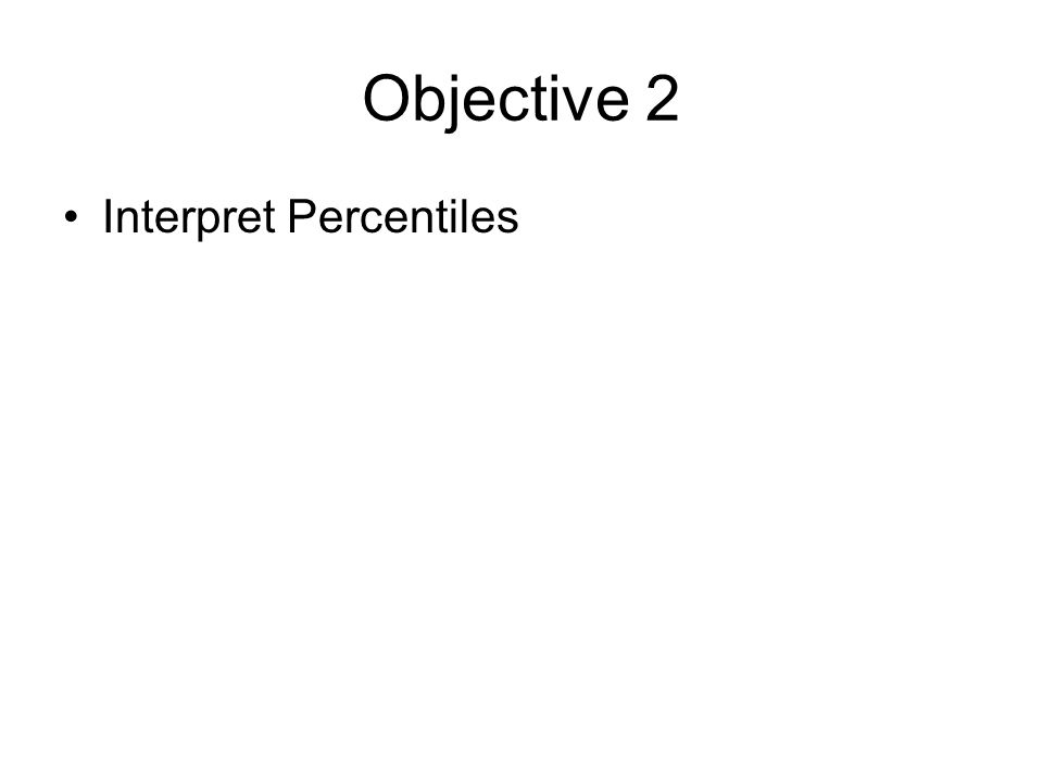 Objective 2 Interpret Percentiles