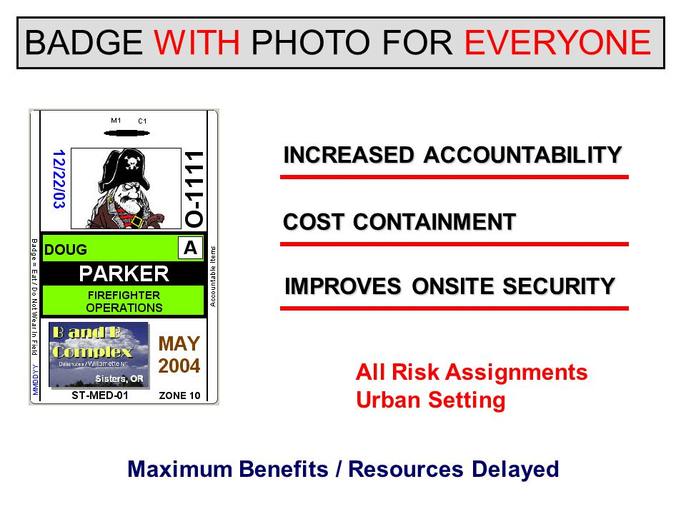 BADGE WITH PHOTO FOR EVERYONE INCREASED ACCOUNTABILITY COST CONTAINMENT IMPROVES ONSITE SECURITY All Risk Assignments Urban Setting Maximum Benefits / Resources Delayed