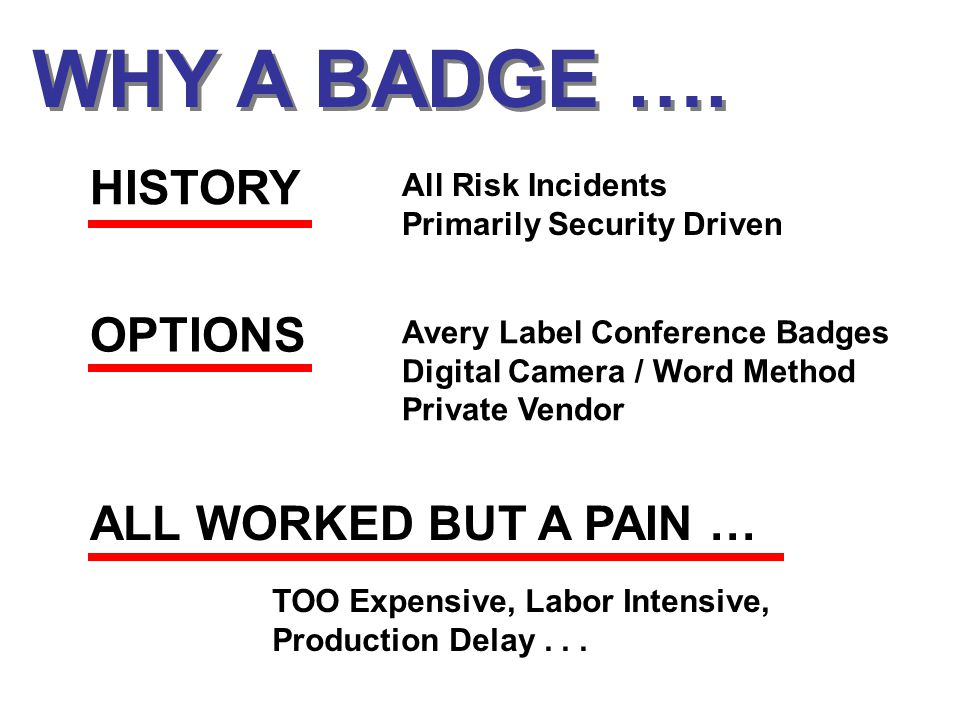 WHY A BADGE ….