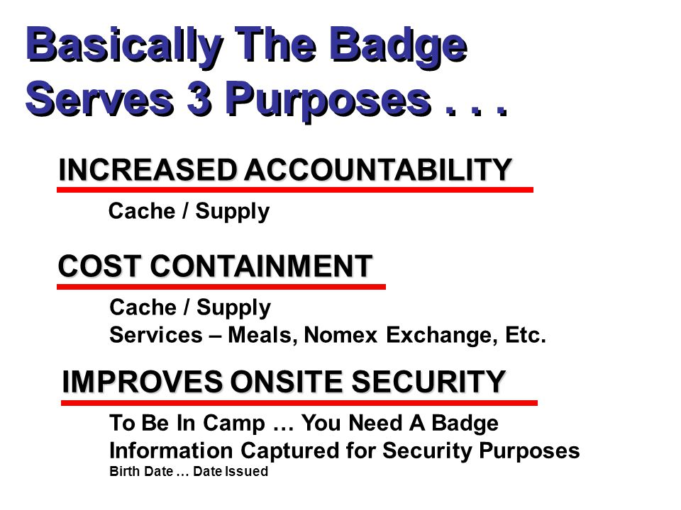 Basically The Badge Serves 3 Purposes... Basically The Badge Serves 3 Purposes...