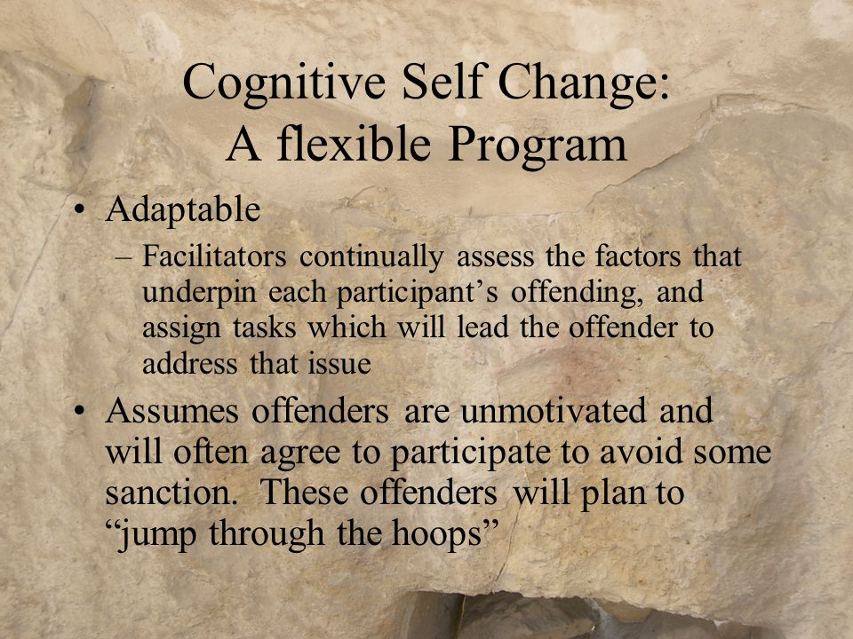 Cognitive Self Change: A flexible Program Open ended –Offenders can progress at their own pace; –New members can join as soon as a vacancy occurs; Task based graduation –Participants graduate when they have competently demonstrated the four steps of cognitive self change
