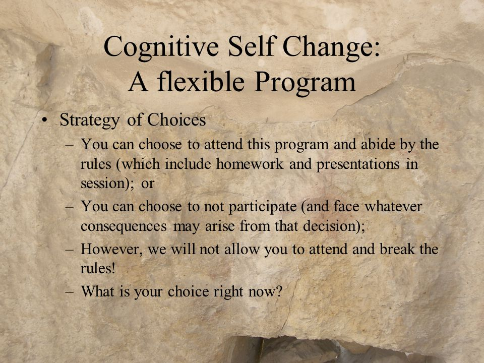Cognitive Self Change: A flexible Program Adaptable –Facilitators continually assess the factors that underpin each participant's offending, and assign tasks which will lead the offender to address that issue Assumes offenders are unmotivated and will often agree to participate to avoid some sanction.