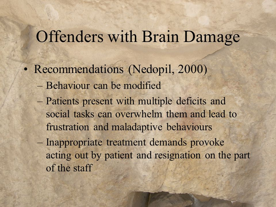 Mentally Disordered Offenders …require all the treatments and services needed by non-offenders who suffer from these disorders, plus additional components which teach them skills for autonomous living and the skills necessary to prevent further aggressive behaviour and/or non- violent criminality »(Hodgkins, 2001)