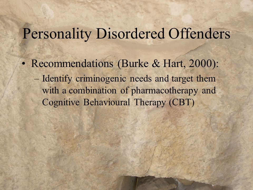 Offenders with Brain Damage Recommendations (Nedopil, 2000) –Behaviour can be modified –Patients present with multiple deficits and social tasks can overwhelm them and lead to frustration and maladaptive behaviours –Inappropriate treatment demands provoke acting out by patient and resignation on the part of the staff