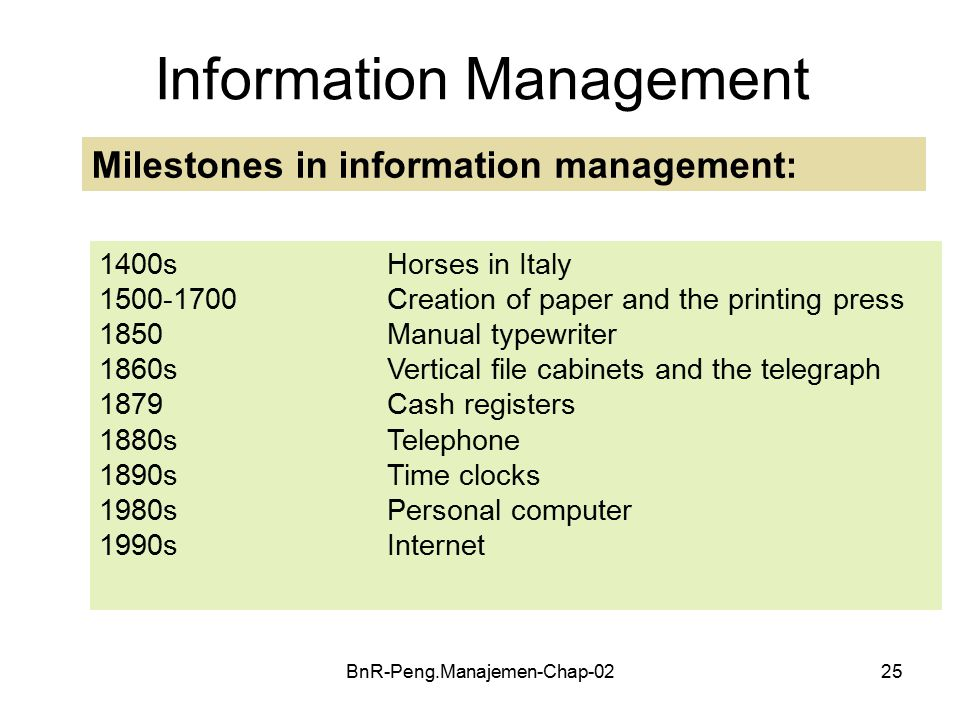BnR-Peng.Manajemen-Chap-0225 Information Management Milestones in information management: 1400sHorses in Italy 1500-1700 Creation of paper and the printing press 1850Manual typewriter 1860sVertical file cabinets and the telegraph 1879Cash registers 1880s Telephone 1890sTime clocks 1980sPersonal computer 1990sInternet