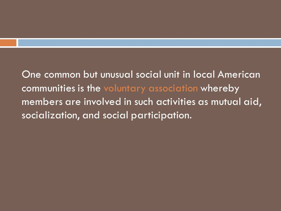 One common but unusual social unit in local American communities is the voluntary association whereby members are involved in such activities as mutual aid, socialization, and social participation.