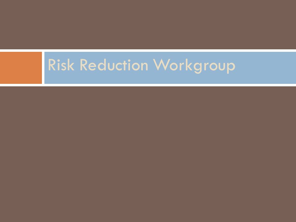 Risk Reduction Workgroup