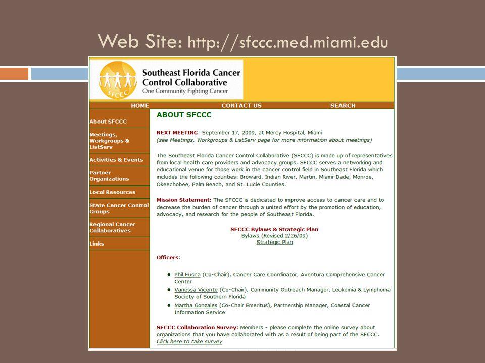 Web Site: http://sfccc.med.miami.edu