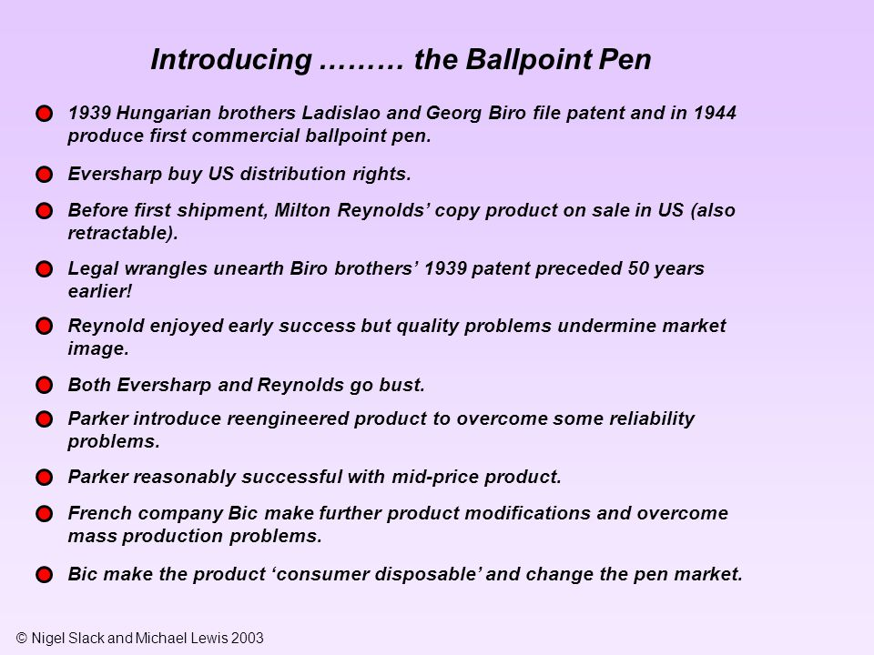 © Nigel Slack and Michael Lewis 2003 Introducing ……… the Ballpoint Pen 1939 Hungarian brothers Ladislao and Georg Biro file patent and in 1944 produce first commercial ballpoint pen.