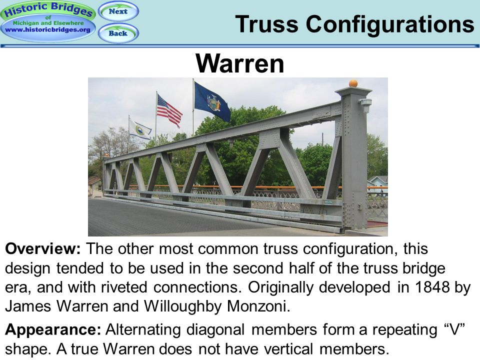 """Truss Configurations Warren Appearance: Alternating diagonal members form a repeating """"V"""" shape. A true Warren does not have vertical members. Overvie"""