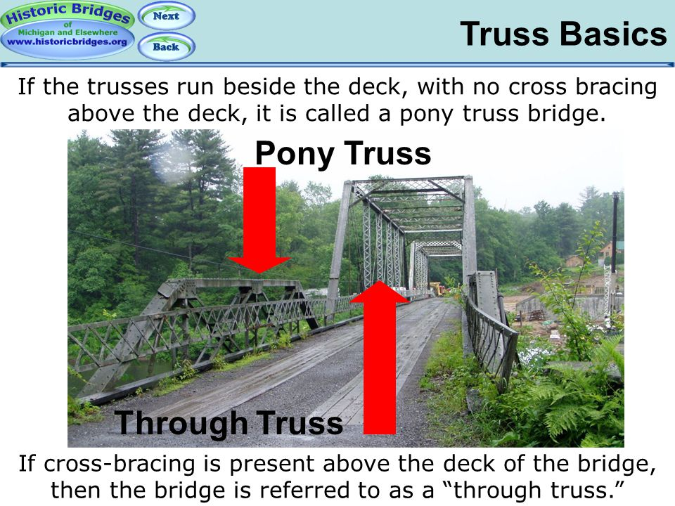 Truss Basics If the trusses run beside the deck, with no cross bracing above the deck, it is called a pony truss bridge. If cross-bracing is present a