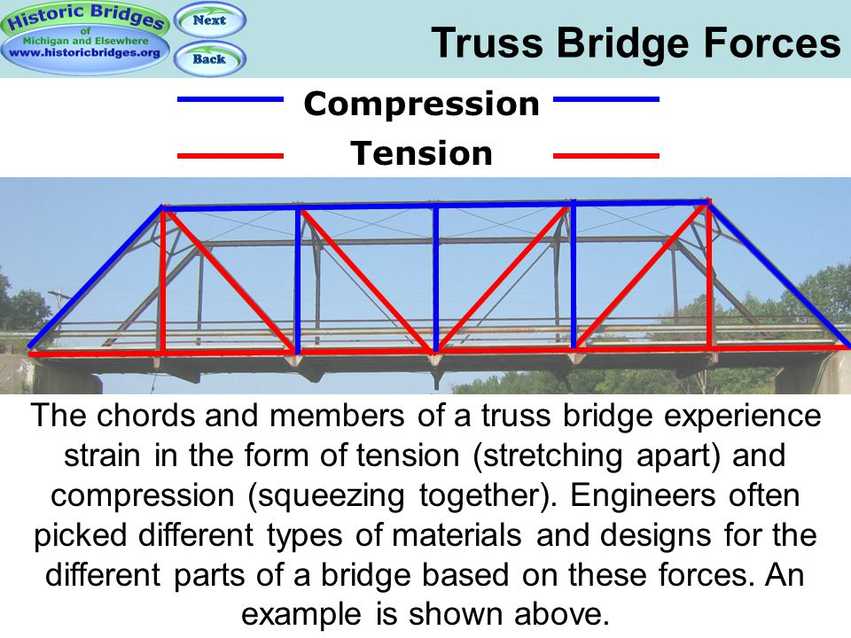 The chords and members of a truss bridge experience strain in the form of tension (stretching apart) and compression (squeezing together). Engineers o
