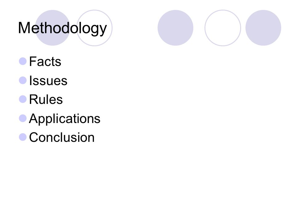 Methodology Facts Issues Rules Applications Conclusion