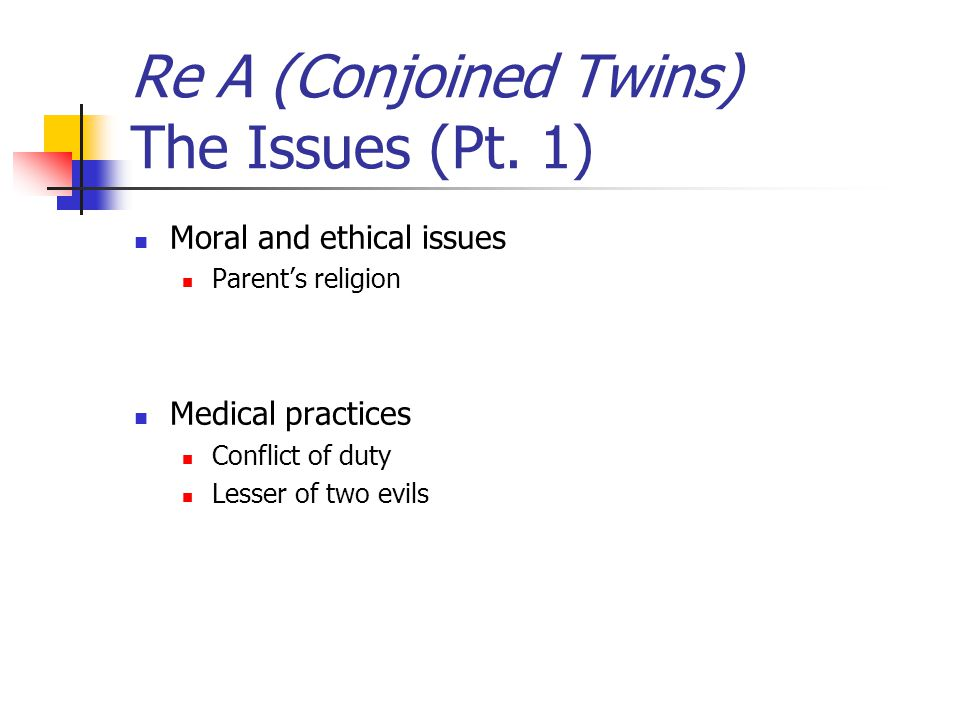 Re A (Conjoined Twins) The Issues (Pt. 1) Moral and ethical issues Parent's religion Medical practices Conflict of duty Lesser of two evils
