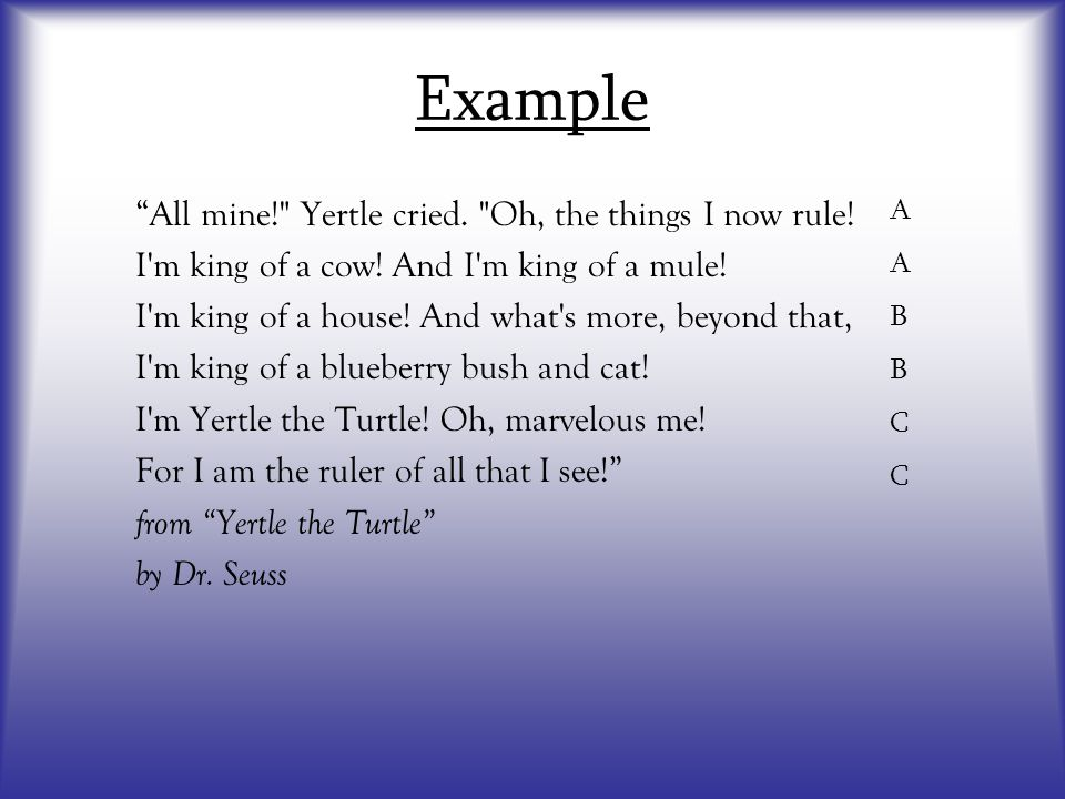 "Example A A B B C C ""All mine!"