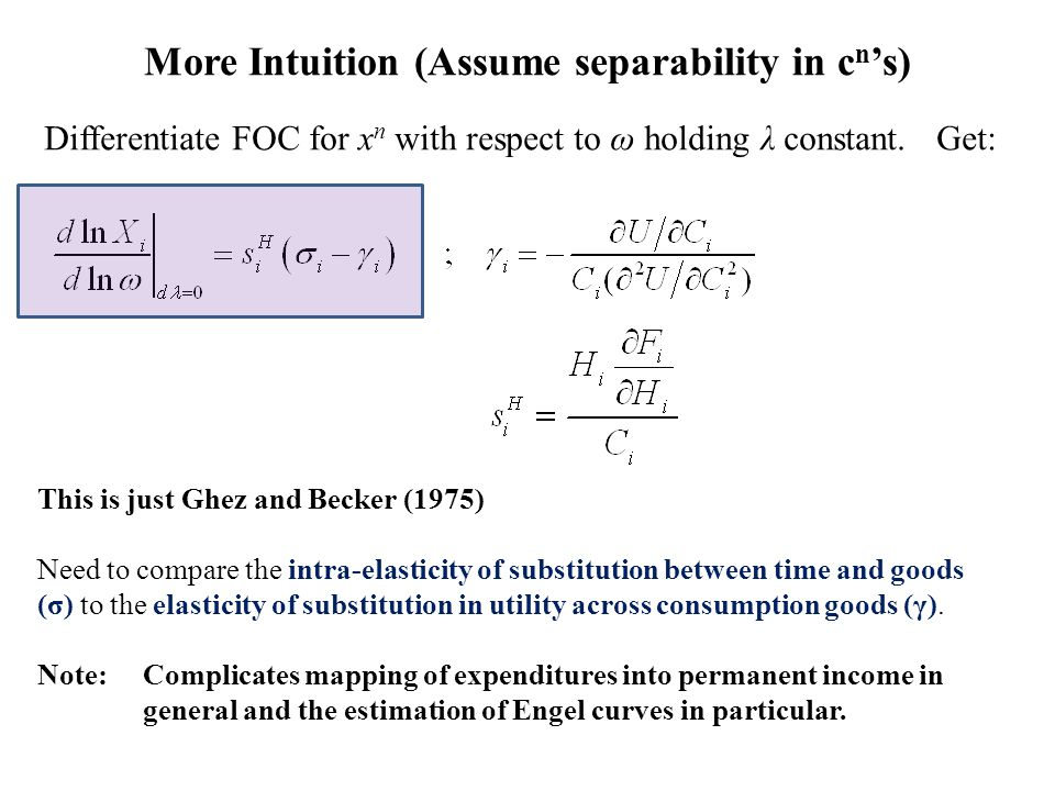 More Intuition (Assume separability in c n 's) Differentiate FOC for x n with respect to ω holding λ constant.