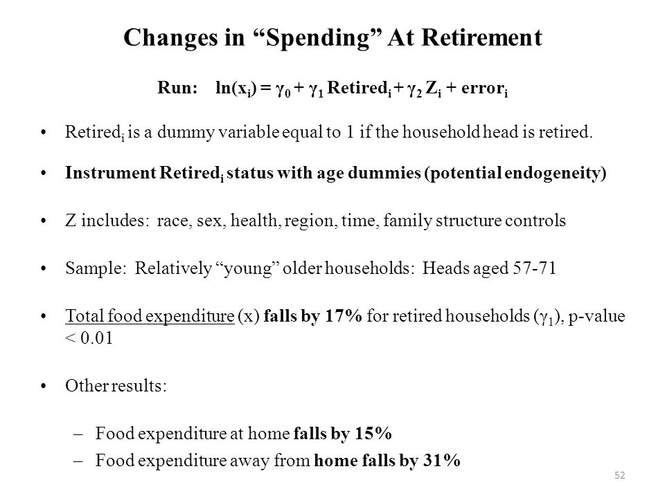 52 Changes in Spending At Retirement Run: ln(x i ) = γ 0 + γ 1 Retired i + γ 2 Z i + error i Retired i is a dummy variable equal to 1 if the household head is retired.