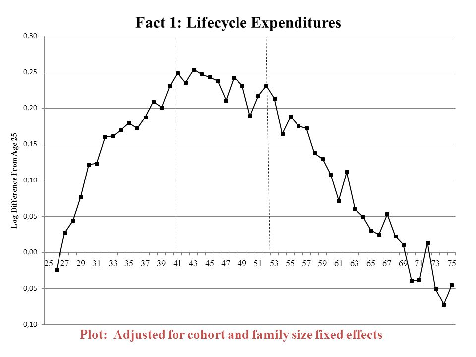 Fact 1: Lifecycle Expenditures Plot: Adjusted for cohort and family size fixed effects