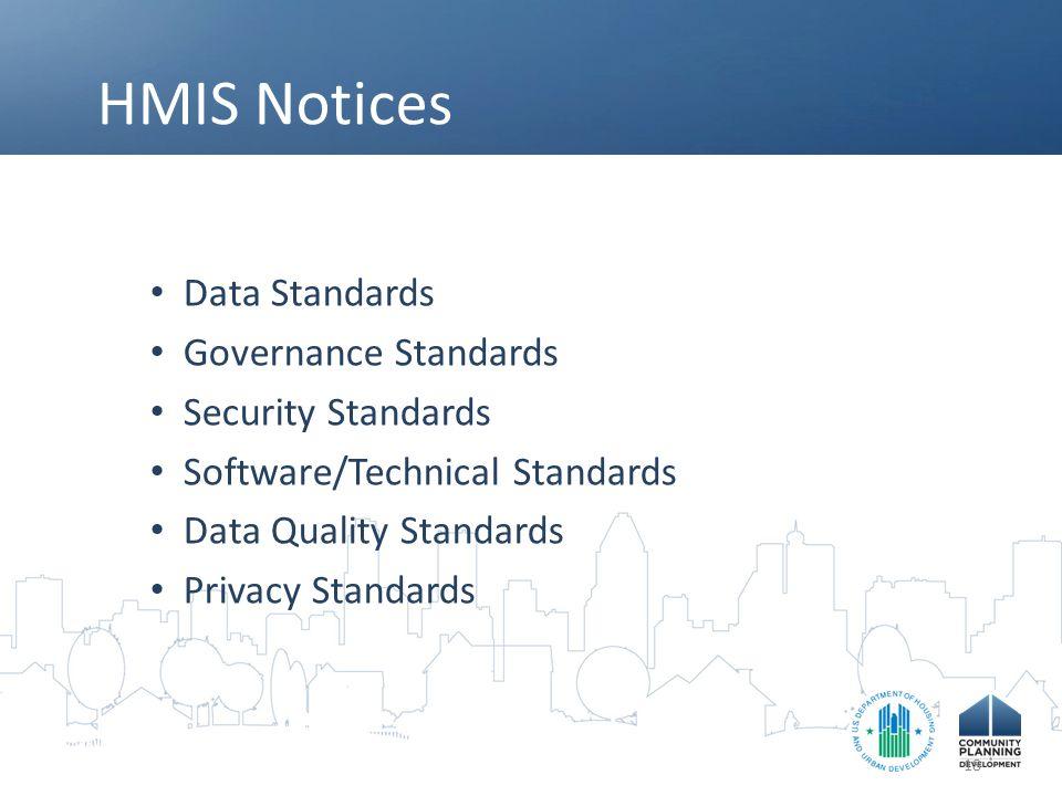 HMIS Notices Data Standards Governance Standards Security Standards Software/Technical Standards Data Quality Standards Privacy Standards 18