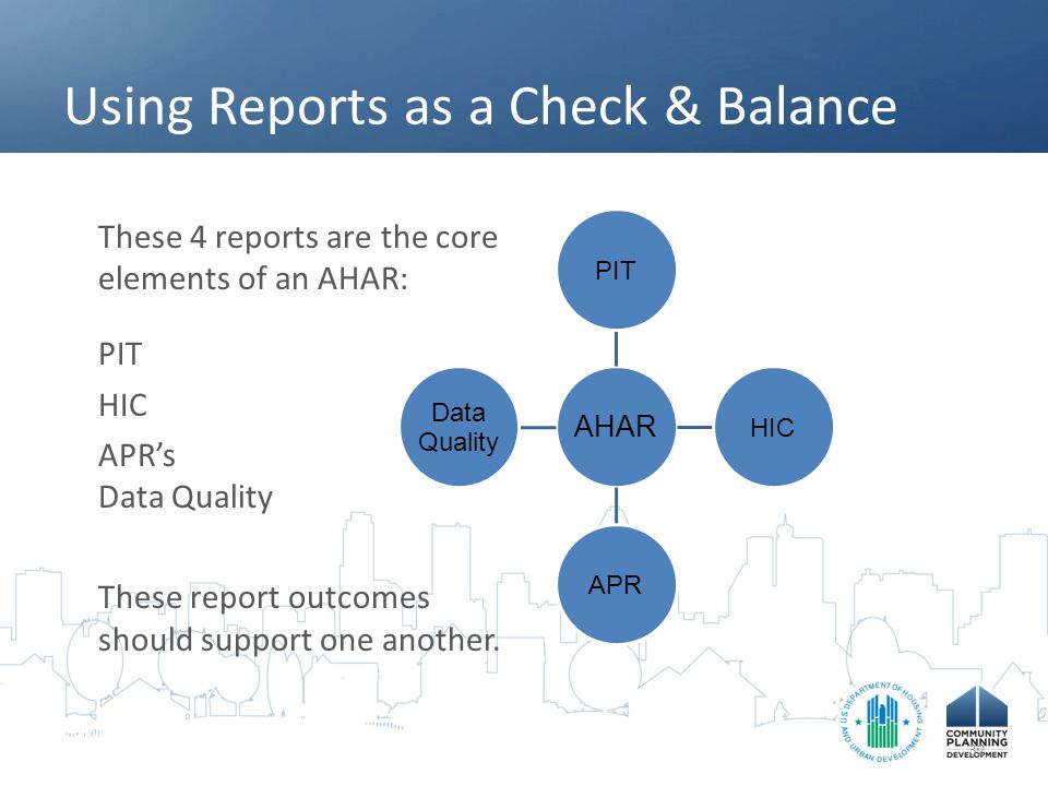 Using Reports as a Check & Balance These 4 reports are the core elements of an AHAR: PIT HIC APR's Data Quality These report outcomes should support one another.