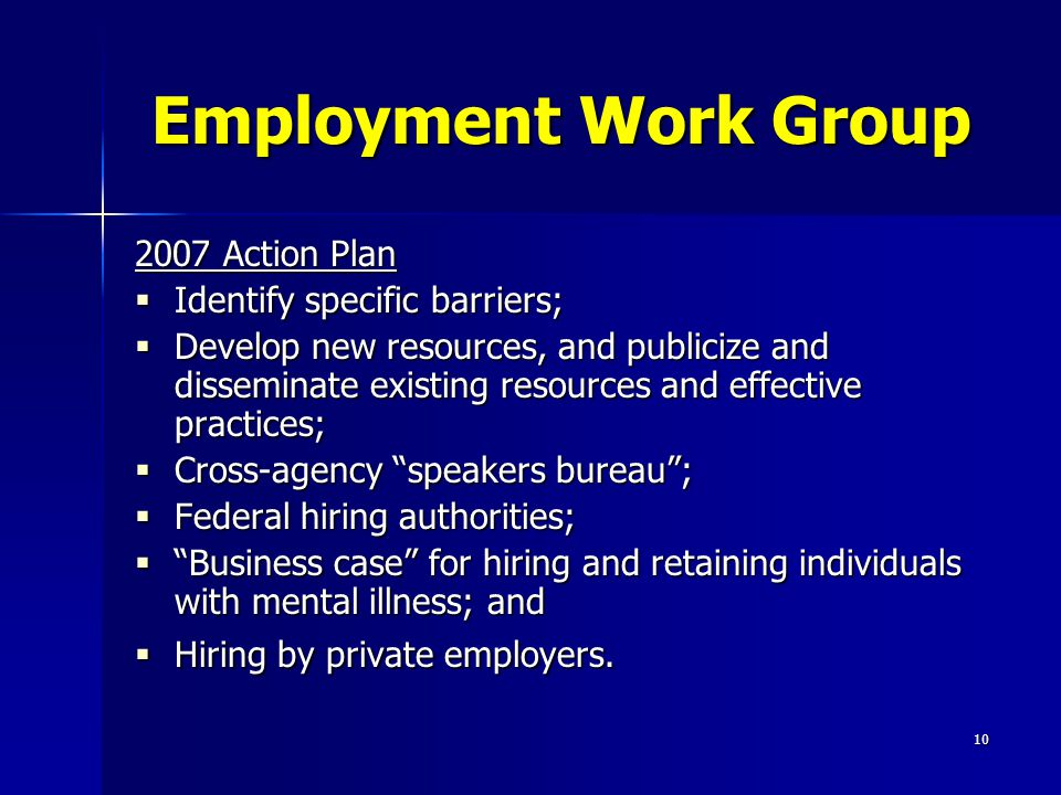 10 Employment Work Group 2007 Action Plan  Identify specific barriers;  Develop new resources, and publicize and disseminate existing resources and effective practices;  Cross-agency speakers bureau ;  Federal hiring authorities;  Business case for hiring and retaining individuals with mental illness; and  Hiring by private employers.