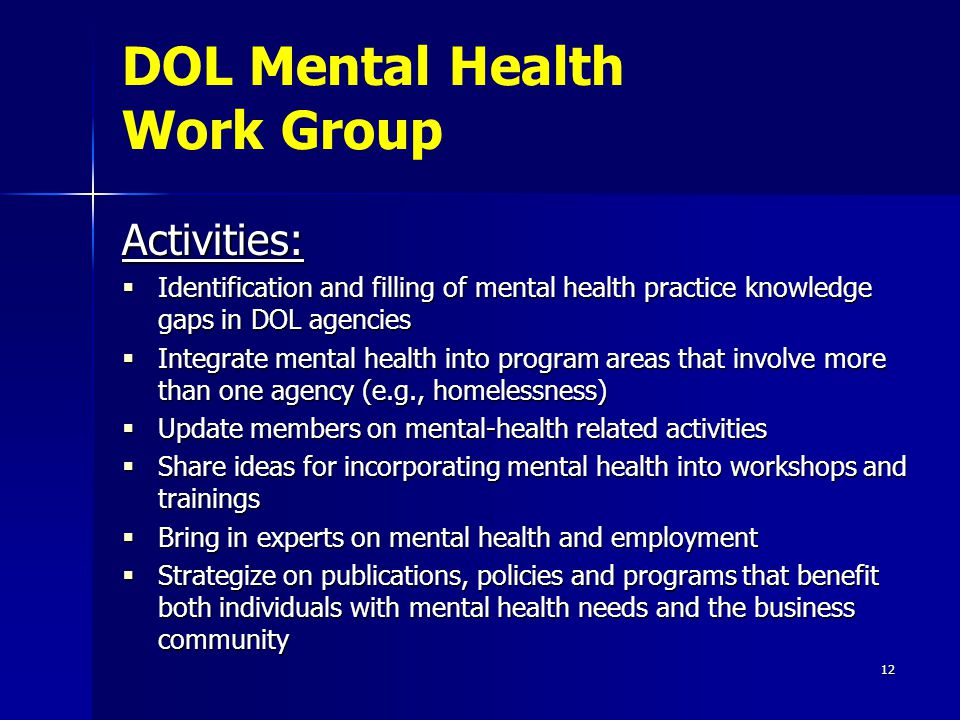 12 Activities:  Identification and filling of mental health practice knowledge gaps in DOL agencies  Integrate mental health into program areas that involve more than one agency (e.g., homelessness)  Update members on mental-health related activities  Share ideas for incorporating mental health into workshops and trainings  Bring in experts on mental health and employment  Strategize on publications, policies and programs that benefit both individuals with mental health needs and the business community DOL Mental Health Work Group