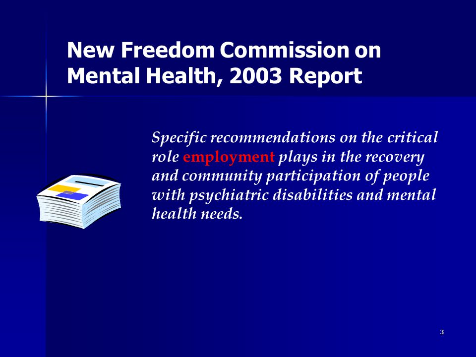 3 Specific recommendations on the critical role employment plays in the recovery and community participation of people with psychiatric disabilities and mental health needs.