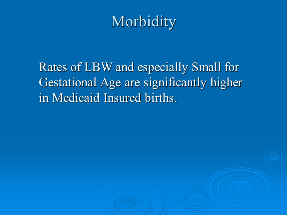 Rates of LBW and especially Small for Gestational Age are significantly higher in Medicaid Insured births.