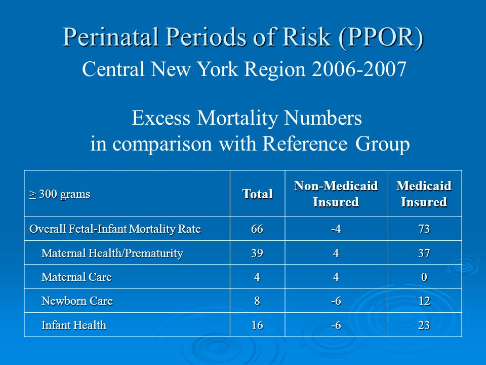 Perinatal Periods of Risk (PPOR) Central New York Region 2006-2007 Excess Mortality Numbers in comparison with Reference Group ≥ 300 grams TotalNon-MedicaidInsuredMedicaidInsured Overall Fetal-Infant Mortality Rate 66-473 Maternal Health/Prematurity Maternal Health/Prematurity39437 Maternal Care Maternal Care440 Newborn Care Newborn Care8-612 Infant Health Infant Health16-623
