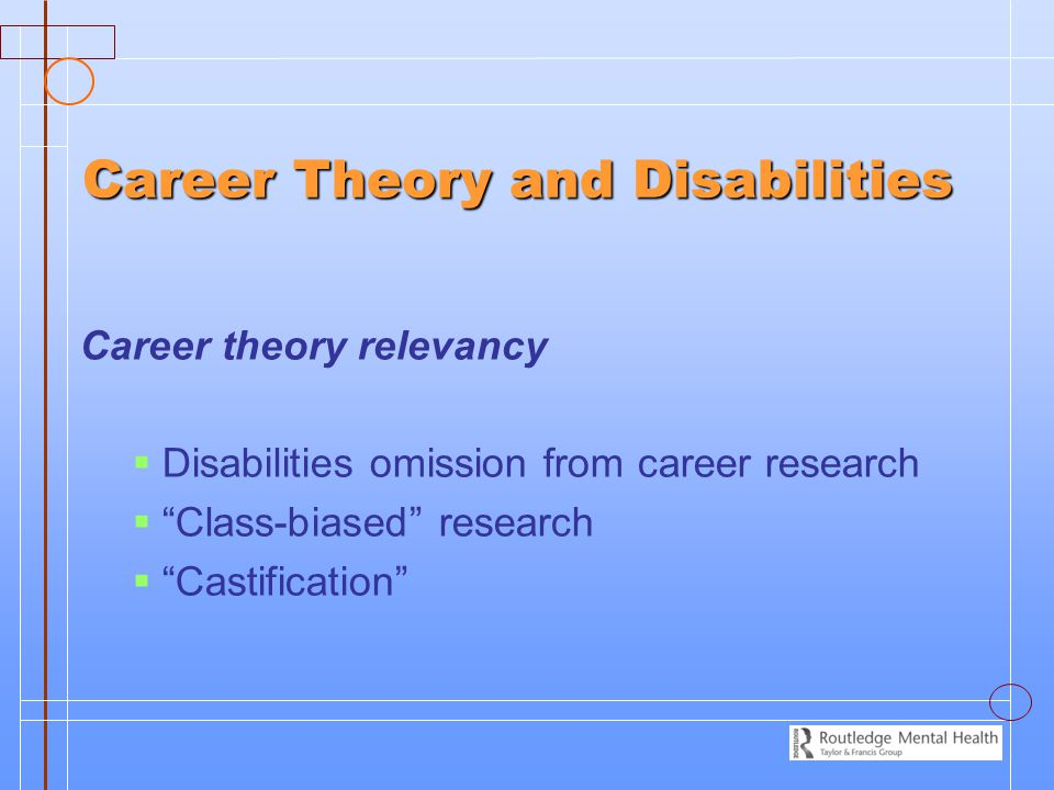 Career Theory and Disabilities Career theory relevancy   Disabilities omission from career research   Class-biased research   Castification