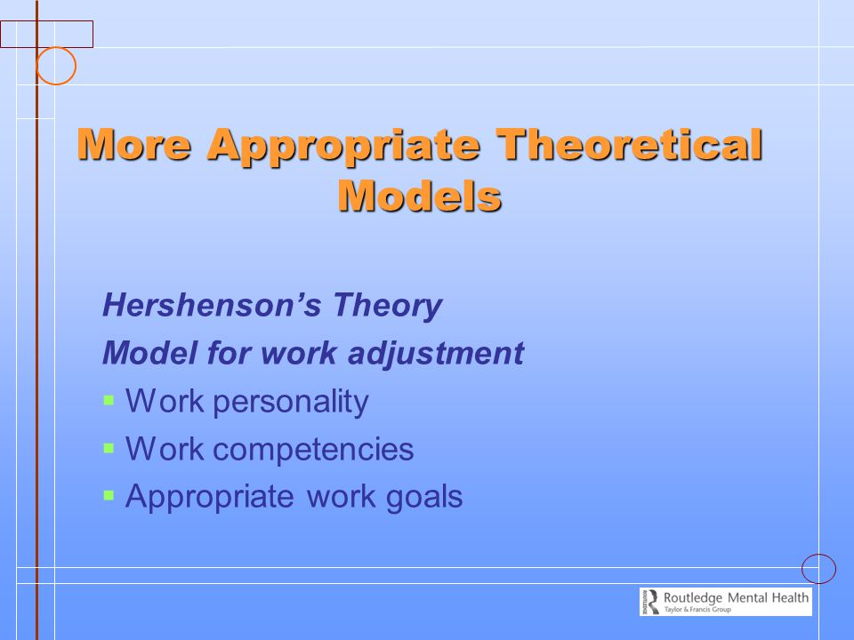 More Appropriate Theoretical Models Hershenson's Theory Model for work adjustment   Work personality   Work competencies   Appropriate work goals