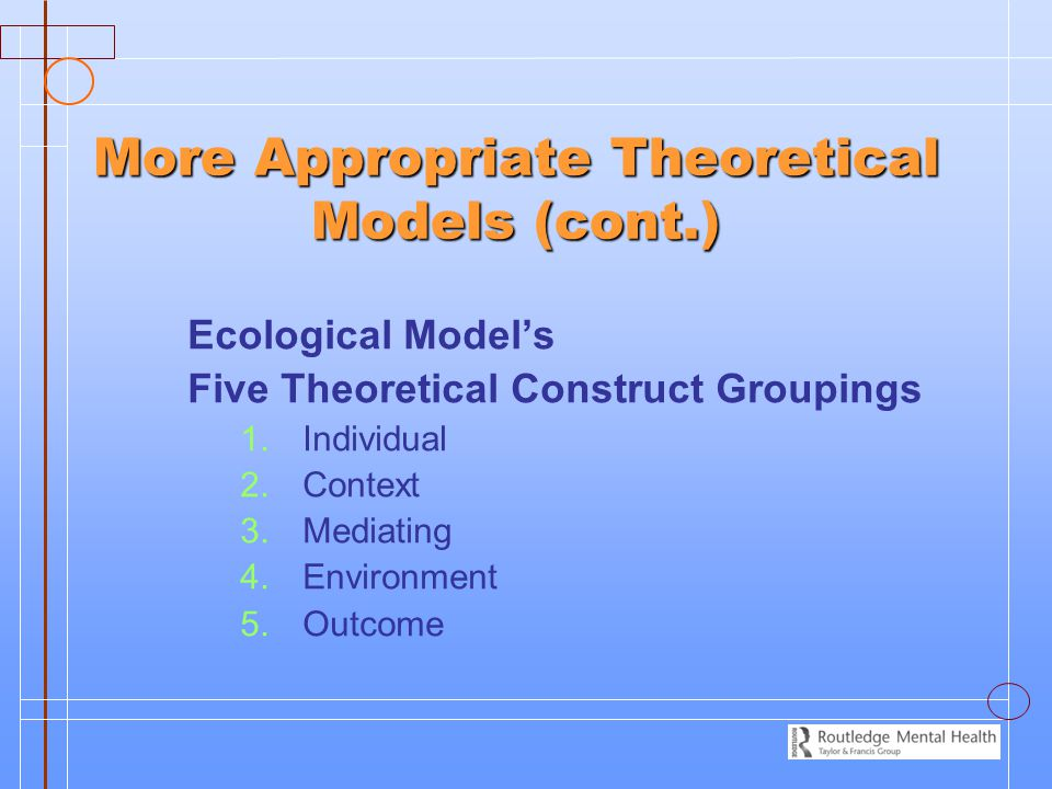 More Appropriate Theoretical Models (cont.) Ecological Model's Five Theoretical Construct Groupings 1.