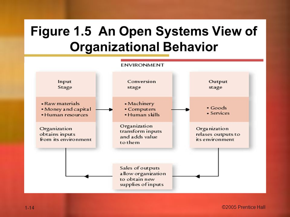 1-14 ©2005 Prentice Hall Figure 1.5 An Open Systems View of Organizational Behavior