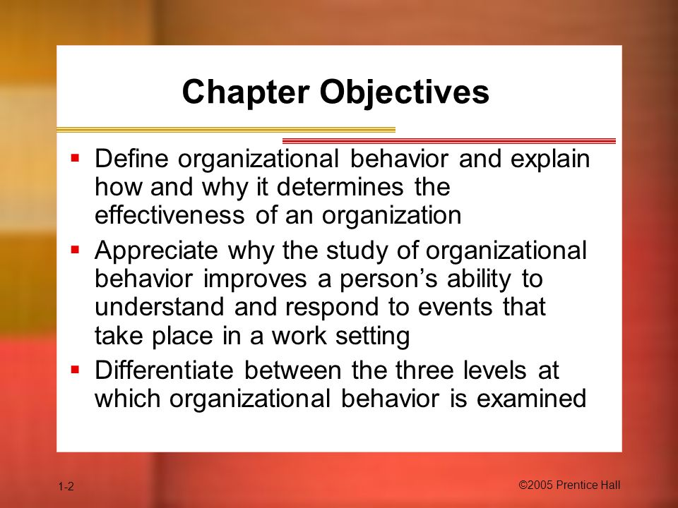1-2 ©2005 Prentice Hall Chapter Objectives  Define organizational behavior and explain how and why it determines the effectiveness of an organization  Appreciate why the study of organizational behavior improves a person's ability to understand and respond to events that take place in a work setting  Differentiate between the three levels at which organizational behavior is examined