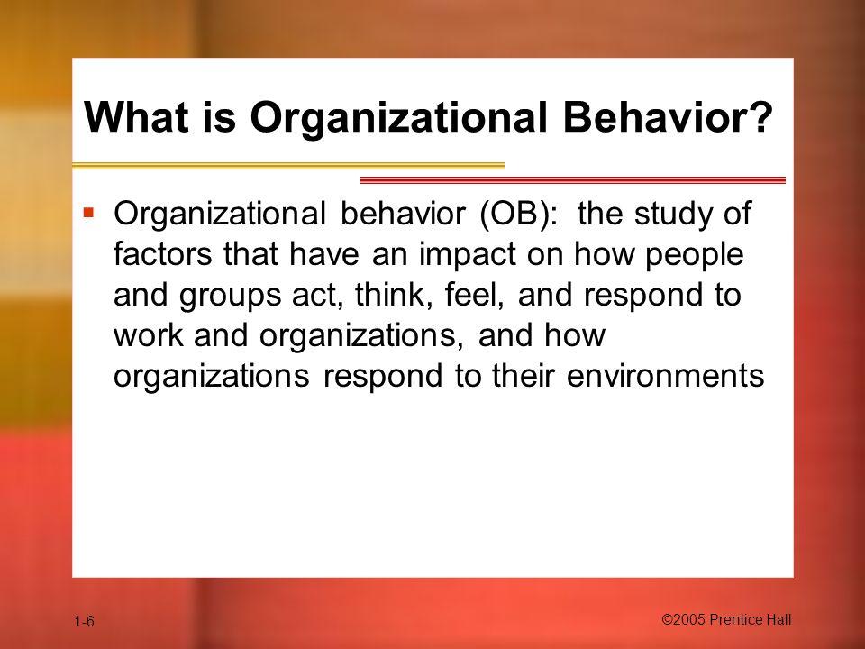 1-6 ©2005 Prentice Hall What is Organizational Behavior.